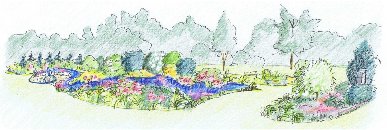 Zeichnung für Gartenplanung in Lüneburg